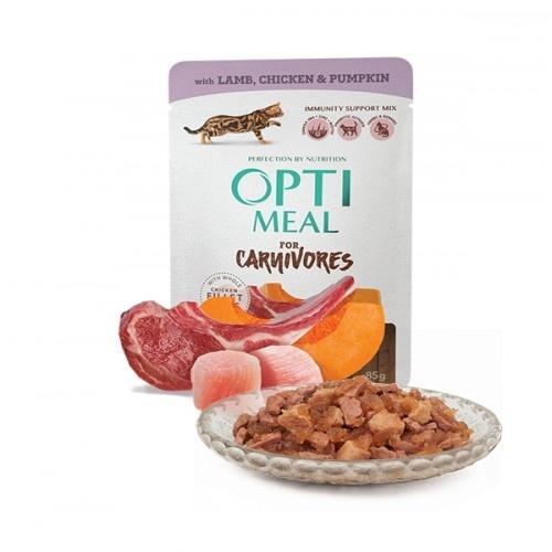 Optimeal sin cereales pienso húmedo para gatos Cordero y Pollo en gelatina de calabaza