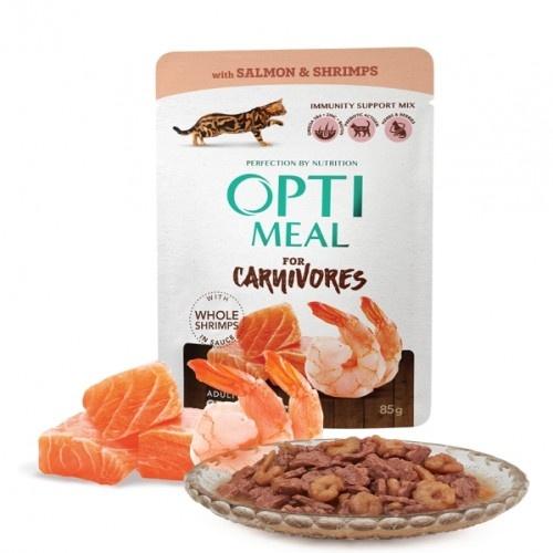 Optimeal sin cereales pienso húmedo para gatos Salmón y Gambas