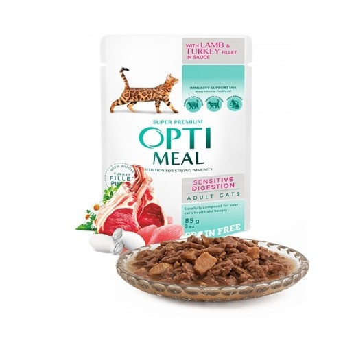 Optimeal sin cereales pienso húmedo para gatos digestión sensible Cordero y Pavo en salsa