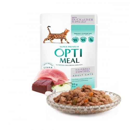 Optimeal control de bolas de pelo Pienso húmedo para gatos Pato e Hígado en gelatina