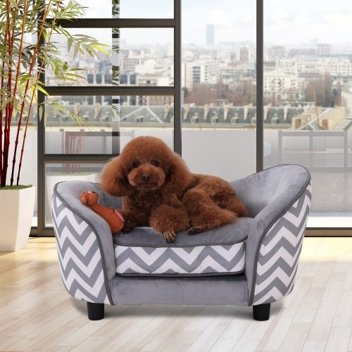 Sofá de diseño acolchado para mascotas color Gris