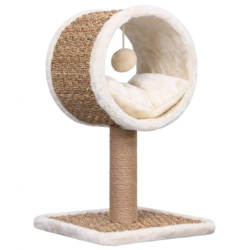 Rascador con túnel y juguete para gato color Marrón