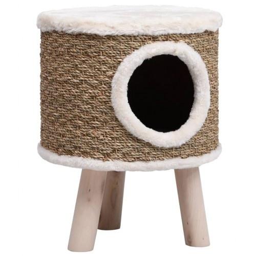 Casa elevada con rascador para gatos color Marrón