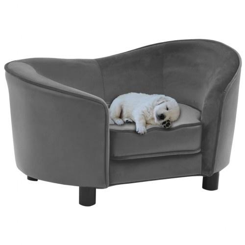 Sofá tapizado con cuero para perros color Gris