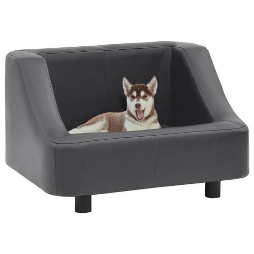 Sofá de cuero y madera para perros color Gris