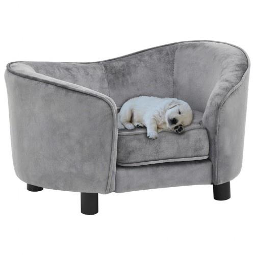Sofá cubierto de felpa para perros color Gris
