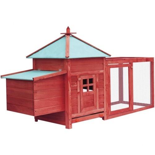Gallinero espacioso de madera color Rojo