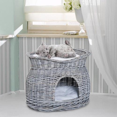 Cesta de mimbre con cama y cueva para gatos color Gris