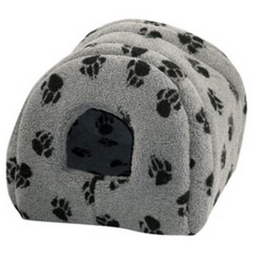 Cama iglú con estampado de zarpas para gatos color Gris