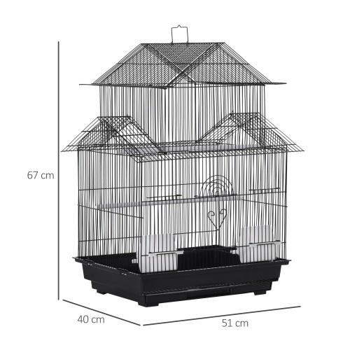 Jaula de metal para pájaros color Negro