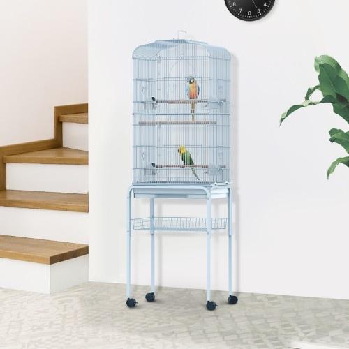 Jaula elevada de interior para pájaros color Blanco