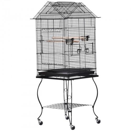 Jaula con soporte y ruedas con freno para pájaros color Negro