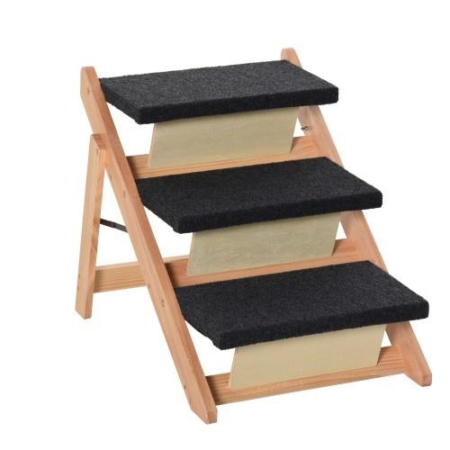 Escalera de madera para mascotas color Negro y Natural