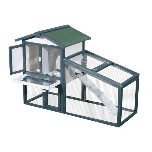 Conejera PawHut de Madera Exterior Jaula para Conejos de 2 Niveles color Verde