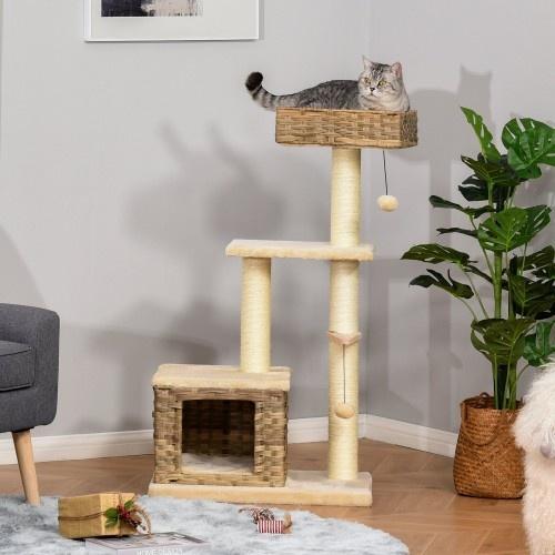 Rascador Árbol PawHut para Gatos con Plataformas Cueva Cama color Marrón y Beige
