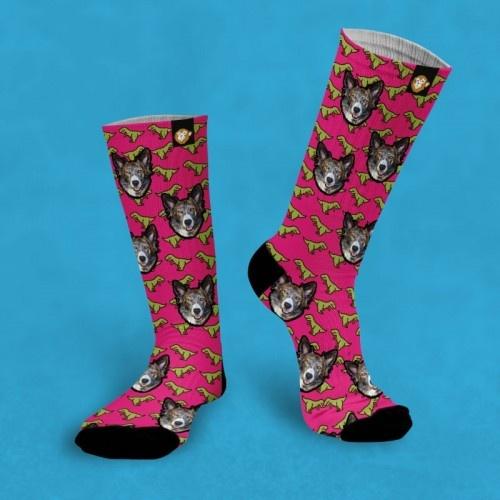 Calcetines personalizados Dino 2 mascotas color Rosa