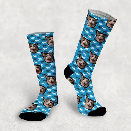 Calcetines personalizados Cat 2 mascotas color Azul