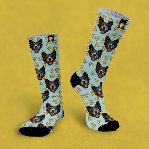 Calcetines personalizados Pizza 3 mascotas color Gris