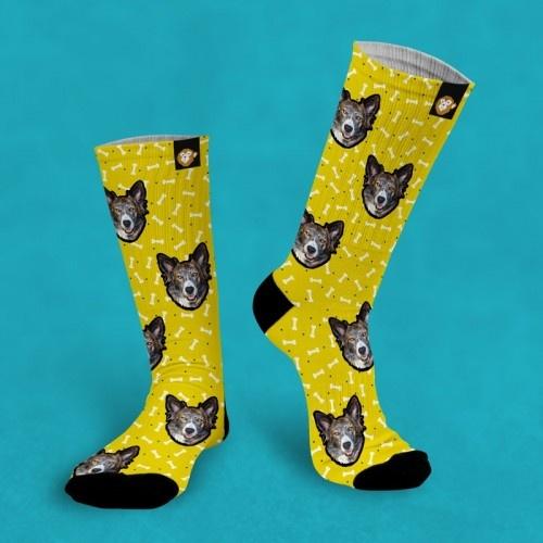 Calcetines personalizados Doggy 3 mascotas color Amarillo