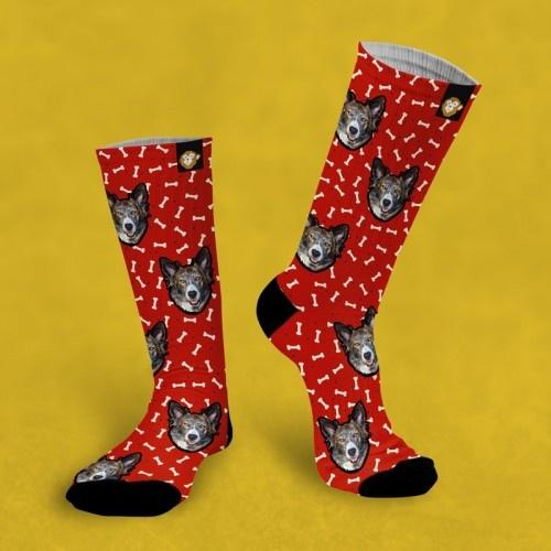 Calcetines personalizados Doggy 3 mascotas color Rojo