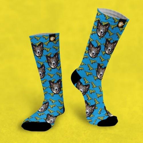 Calcetines personalizados Dino 1 mascota color Azul