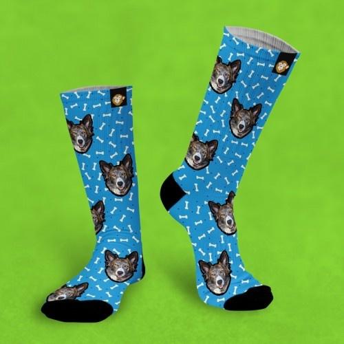 Calcetines personalizados Doggy 3 mascotas color Azul