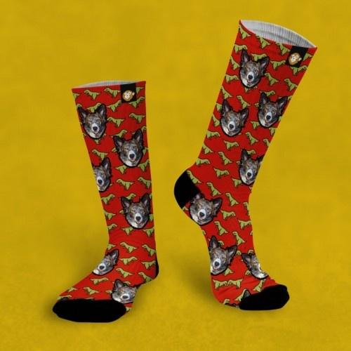 Calcetines personalizados Dino 2 mascotas color Rojo