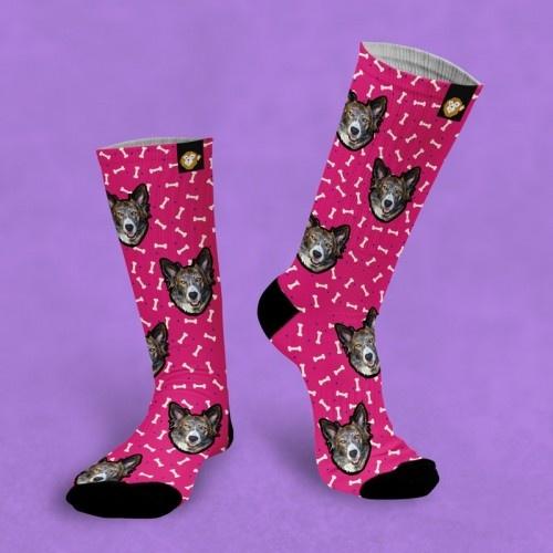 Calcetines personalizados Doggy 3 mascotas color Rosa