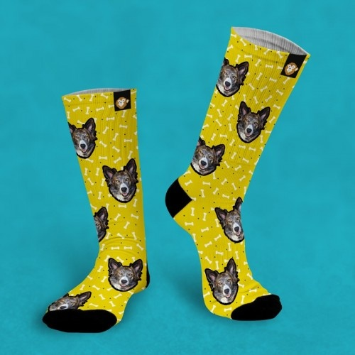 Calcetines personalizados Doggy 2 mascotas color Amarillo