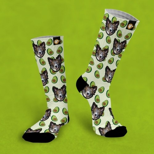 Calcetines personalizados Aguacate 1 mascota color Verde