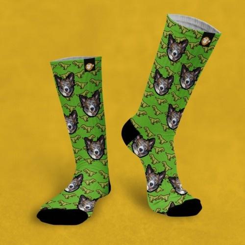 Calcetines personalizados Dino 2 mascotas color Verde
