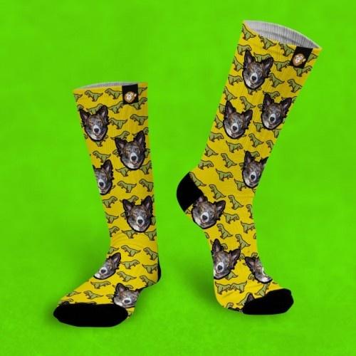 Calcetines personalizados Dino 2 mascotas color Amarillo