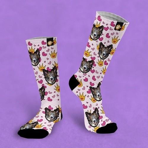 Calcetines personalizados Princess 3 mascotas color Rosa
