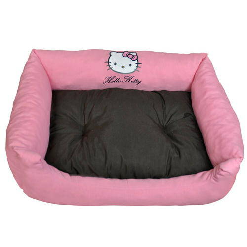 Cama rectangular rosa y marr n para mascotas hello kitty for Estanque prefabricado rectangular