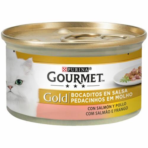 Gourmet bocaditos sabor Salmón y pollo para gatos