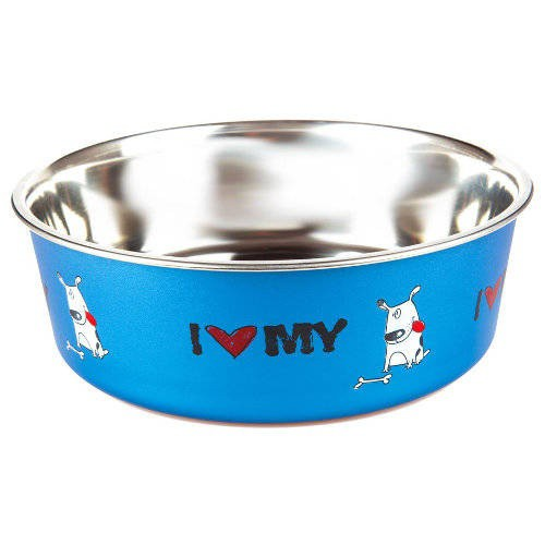 Comedero de acero inox TK-Pet I love my dog