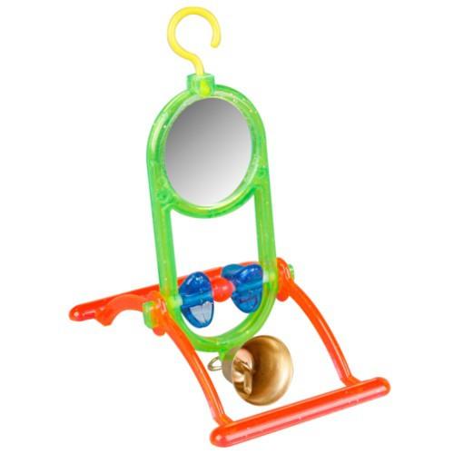 Juguete Espejo con perchas y campana para periquitos