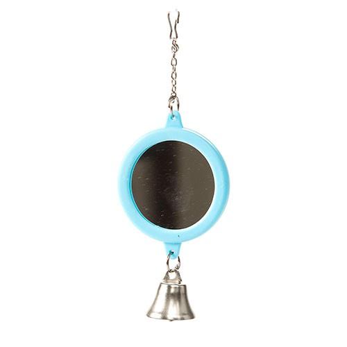Espejo redondo con campana para periquitos