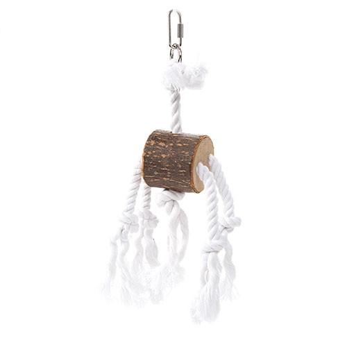 Juguete de madera y cuerda con tocón para loros