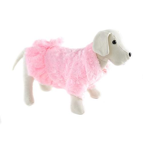 Abrigo rosa con pompones para perros