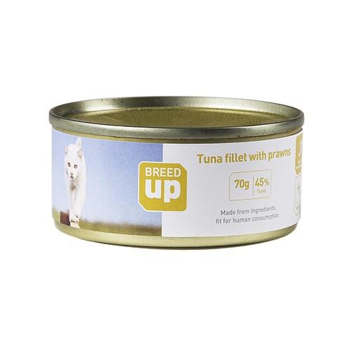 Alimento húmedo para gatos Breed Up Adult atún y gambas 70 gr