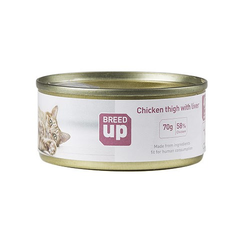 Alimento húmedo para gatos Breed Up Adult pollo e hígado 70 gr