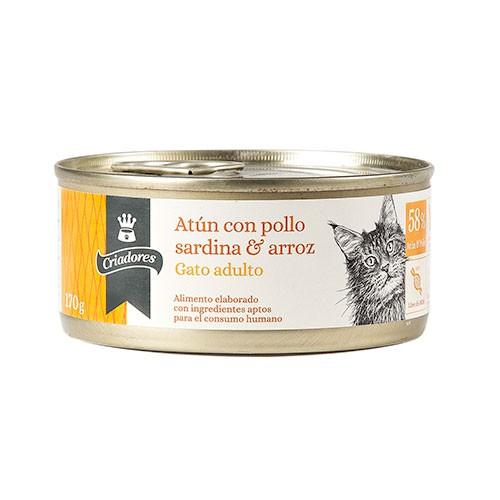 Alimento húmedo para gatos Criadores atún con pollo, sardina y arroz 170 gr