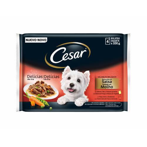 Alimento húmedo para perros Cesar Pouch Multipack en salsa