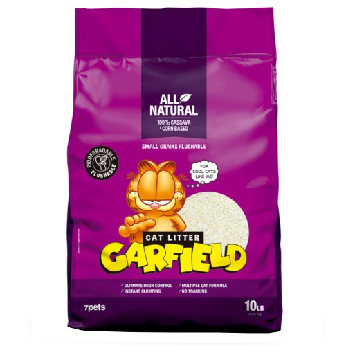 Arena aglomerante biodegradable y desechable Garfield