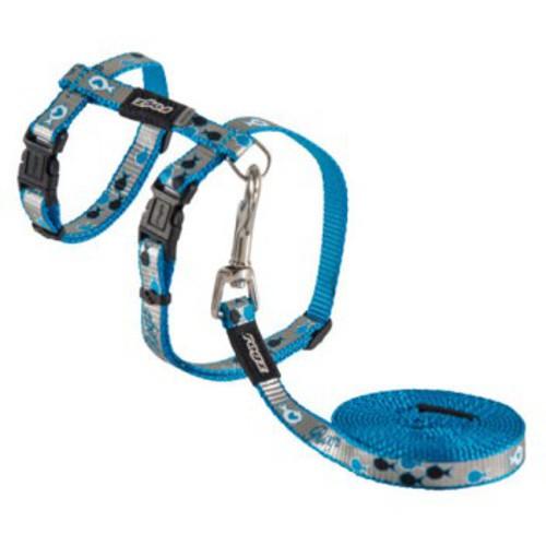 Arnés y correa para gatos reflectante azul Rogz Reflectocat