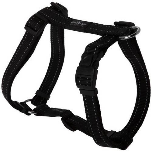 Arnés para perros Rogz Utility negro con costura reflectante