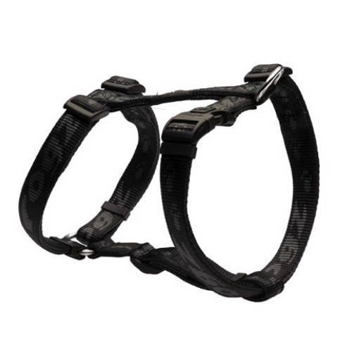 Arnés para perros Rogz Alpinist negro con letras estampadas