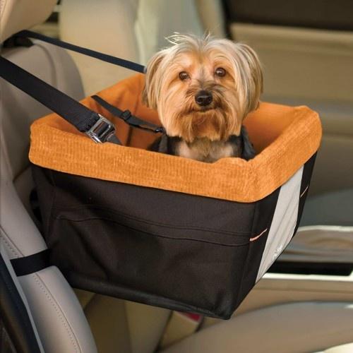Asiento elevado de coche para perros color Negro y Naranja