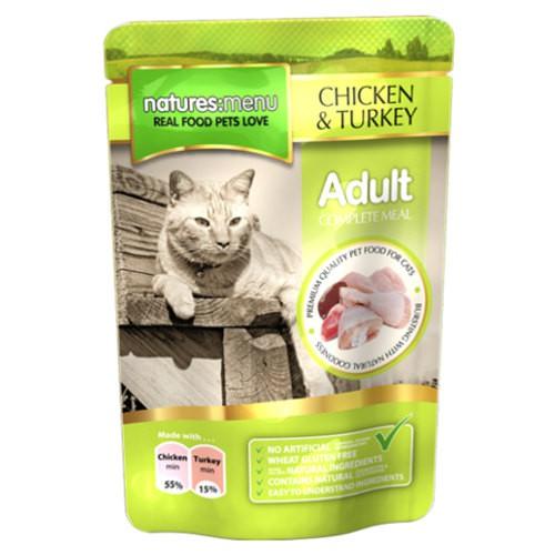 Bolsitas de comida húmeda de pollo y pavo para gatos Natures Menu Adult